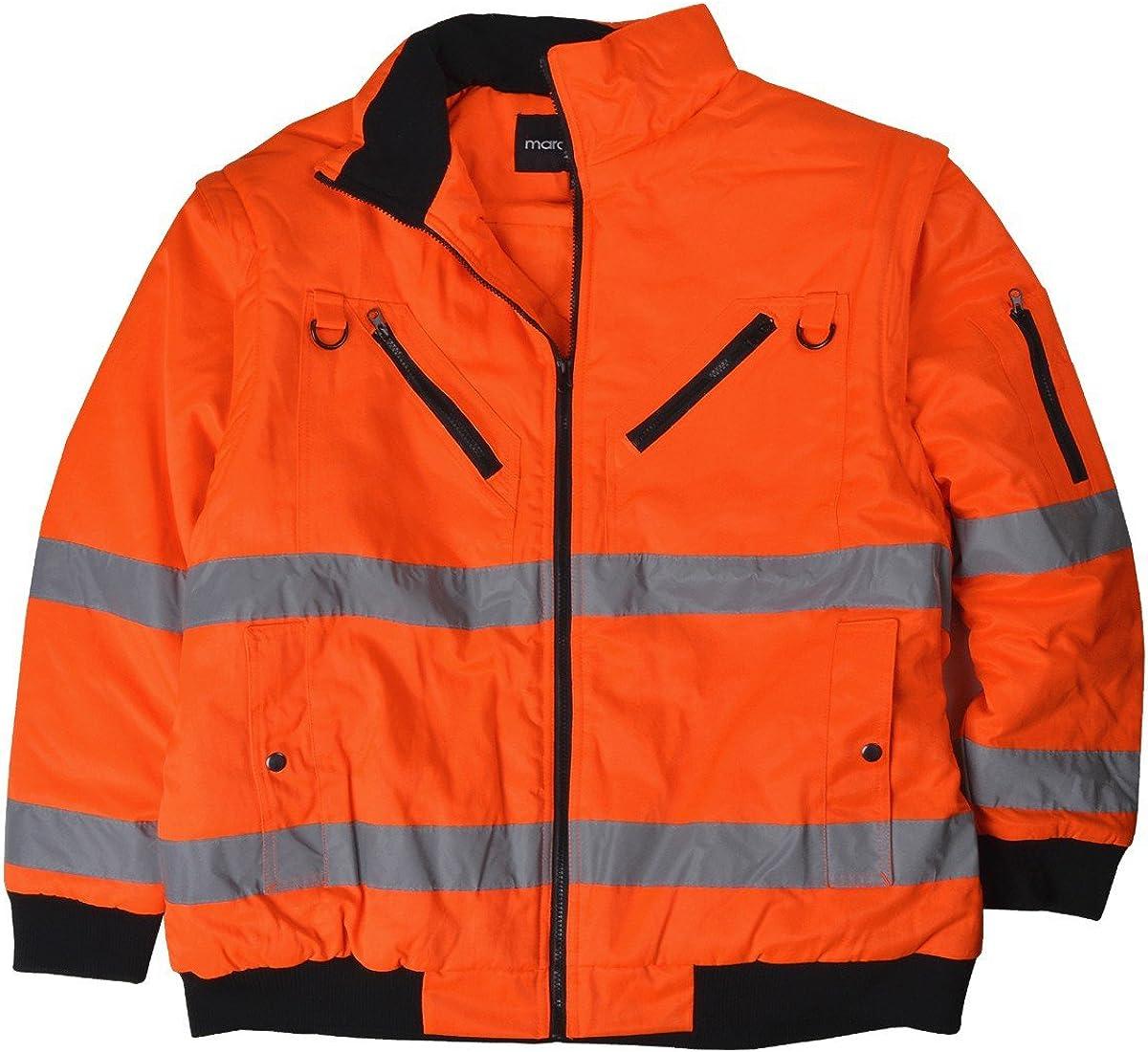 Marc Mark Herren Übergrößen 2 In 1 Warnschutzjacke Wetterjacke Orange Bekleidung