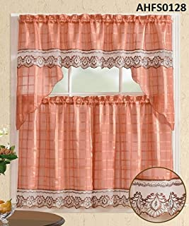 WPM WORLD PRODUCTS MART 3 Piece Kitchen Curtain Set Peach/Orange Color Flower Panels: 2 Tiers and 1 Valance (AHFS0128)
