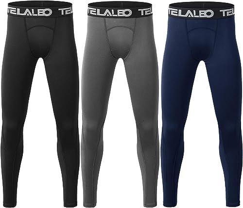TELALEO Boys' Youth Compression Leggings Pants Tight Athletic Base Layer for Running Hockey Basketball