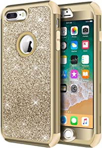 Hython Designed for iPhone 8 Plus, iPhone 7 Plus Case, Heavy Duty Defender Protective Bling Glitter Sparkle Hard Shell Hybrid Shockproof Rubber Bumper Cover for iPhone 7 Plus and 8 Plus, Gold