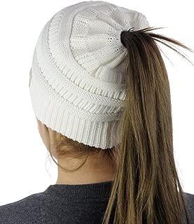 BeanieTail Cotton Blend All Season Daily Messy High Bun Ponytail Beanie Hat