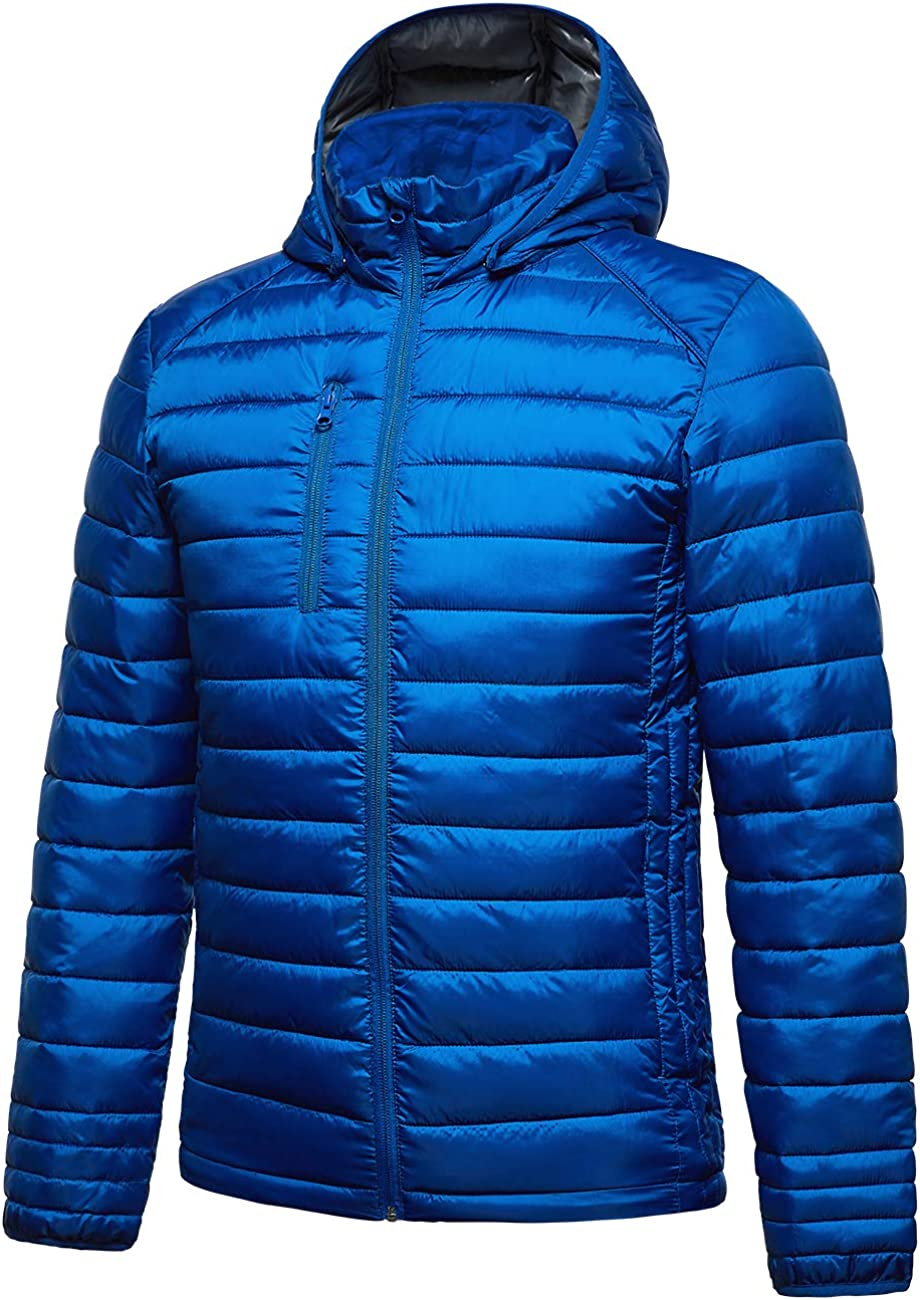 fit space Mens Down Alternative Jacket Quilted Lightweight Packable Padding Coat with Detachable Hood
