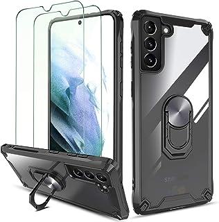 """QHOHQ Case voor Samsung Galaxy S21 Plus 5G 6.7"""" met 2 Pack gehard glas Screen Protector,[360° roterende standaard] [5X mil..."""