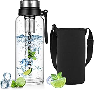Glass Water Bottle with Neoprene Sleeve, ZDZDZ 1.5 Liter Reusable Sport Water Bottles with Infuser & Shoulder Strap for Gy...