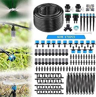 "Jeteven Garden Irrigation System, 132ft/40m 178PCS Drip Irrigation Kit, 1/4"" Blank Distribution Tubing, Automatic Irrigati..."