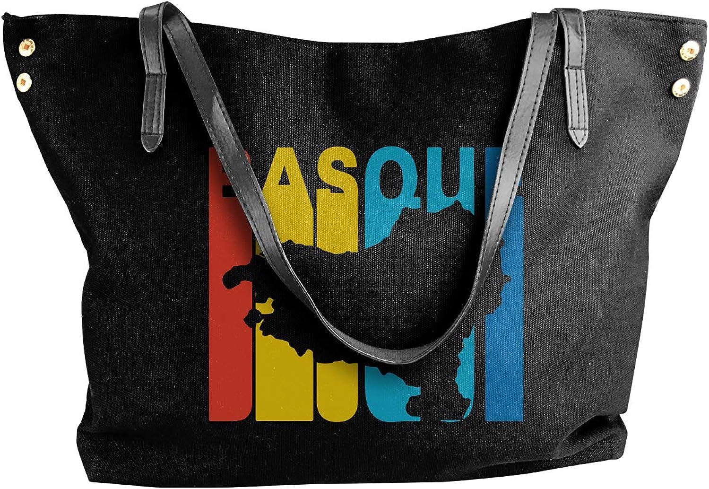 Basque Country Retro 1970's Style Women'S Recreation Canvas Handbag For School Work Bag