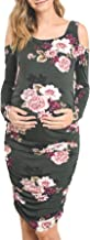 Hello MIZ Women's Long Sleeve Cold Shoulder Fitted Maternity Dress