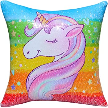 """ICOSY Unicorn Sequin Pillow Cover, Mermaid Toy Pillow Case Unicorn Throw Pillow Cover Decorative Cushion Cover Reversible Sequin Pillowcases Home Decor 16""""x 16"""""""