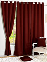 Story@Home Blackout Faux Silk Superior 4 Piece Plain Solid Window Curtains, 5 feet, Maroon