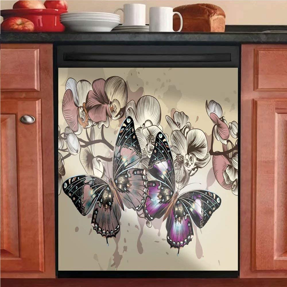 Sale Special Price Simple Pattern of Butterflies Max 45% OFF and Flowers Magnets Refrigerator D
