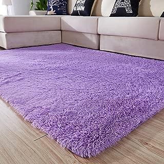 Amangel Super Soft Cozy Fluffy Purple Area Rug Plush Shaggy Carpet Shag Fur Rugs for Kids Dorm Rooms Baby Nursery Teen Girls Bedroom Rugs Home Furniture Decor 4x5.3 Feet, Purple
