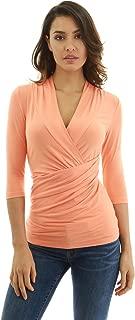 Women 3/4 Sleeve Twist Pleated Blouse
