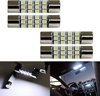 iJDMTOY (4) Xenon White 12-SMD 578 579 572 211-2 212-2 214-2 LED Replacement Bulbs For Car Interior Map Dome Cargo Area Lights