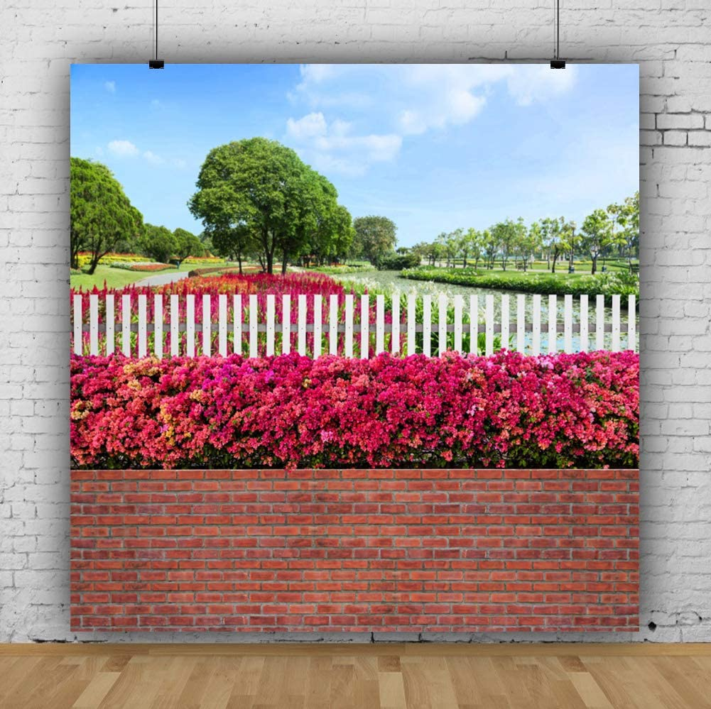 YongFoto 6.5x6.5ft Spring Scenery Backdrop Garden Flowers Tree Photography Background Brick Wall Wooden Fence Lawn Outdoor Park Picnic Party Decor Kids Adult Portrait Photo Booth Studio Props