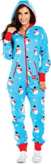 Cozy Women`s Christmas Onesie - Blue Chilly Snowman Holiday Cozy Adult Jumpsuit