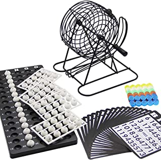 Lulu Home Bingo Game Set, 8 Inch Metal Bingo Cage Include White Balls, Bingo Chips, Bingo Board, 18 Bingo Cards
