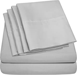 Sweet Home Collection Microfiber Deep Pocket Set Bedding-2 Extra Pillow Cases Queen Sheets Silver-6 Piece 1500 Thread Count Fine Brushed