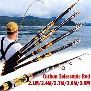 Fibra Carbono Portátil Caña Pescar Telescópica Surf Viajes Ultra ...