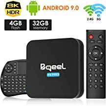 Android 9.0 TV Box 4GB RAM 32GB ROM, Bqeel TV Box Android S905X3 Quad-Core 64bit with Dual-WiFi 2.4G/5.0G, 3D Ultra HD 8K4K H.265, BT 4.0 USB 3.0 Smart TV Box with Wireless Mini Keyboard