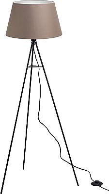 """Trango 1522BL Lampe sur pied design """"Brownie"""" avec ampoule LED E27 Blanc chaud avec abat-jour en tissu marron I Trépied Hauteur : 150 cm"""