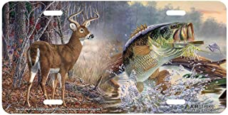 Durable Fishing License Plate Deer and Bass Auto Car Tag for Vehicle Car and Truck License Plate 6