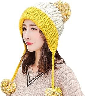 Women Skull Beanie Hat Peruvian Cap Winter Fleeced Ski Ear Flaps Pompoms Cable Knitting