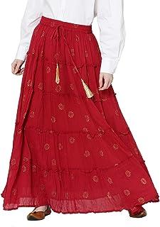 Srishti by FBB Gold Print Tiered A-Line Skirt