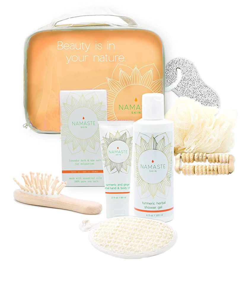 Mother's Day Special! Spa Gift-Set with Hand & Body Lotion, Shower Gel, Bath Salt, Loofah, Sisal Sponge, Brush Pumice Stone, Rolling Massager, Gift Bag (8-Piece Grapefruit Essential Set)