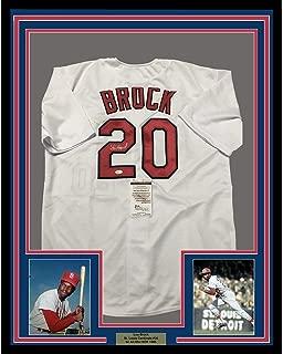 Framed Autographed/Signed Lou Brock 33x42 St. Louis White Baseball Jersey JSA COA