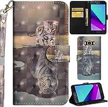 Ooboom Samsung Galaxy Grand Prime Funda 3D Flip Folio Wallet Case Cover Carcasa Piel PU Billetera Soporte Plegable con Ranuras Tarjetas Cierre Magnético para Samsung Galaxy Grand Prime - Gato Tigre