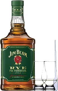 Jim Beam Rye Bourbon Whiskey 0,7 Liter  2 Glencairn Gläser  Einwegpipette 1 Stück