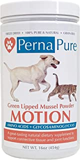 PernaPure Green Lipped Mussel Powder – Omega 3 Fatty Acid, Chondroitin, Calcium Supplement for Joint Health, Anti-Inflammatory, Arthritic Care – for Pet & Animal Use (16oz Jar)