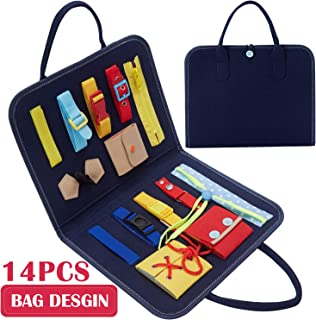 Busy Board Buckle Toys Foldable 14 PCS Montessori Toys Bag Desgin for Toddlers, Toddler Activity Board for Fine Motor Skills & Learn to Dress - Educational Learning Toys for 1 2 3 4 Year Old Toddlers