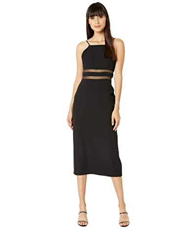 BCBGMAXAZRIA Square Neck Midi Dress (Black) Women