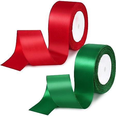 Cinta de Raso de Navidad Sat/én 96 yardas Cinta de tela roja Cinta de embalaje regalo Tela artesanal Cinta de regalo para regalos de bricolaje,bordados,lazos para el cabello,tarjetas