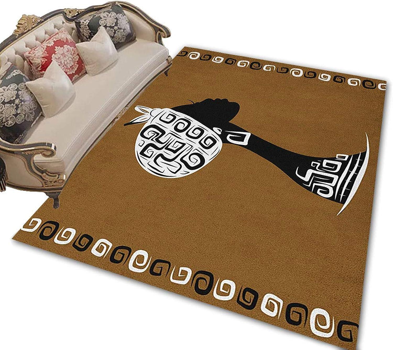 African Woman Floor Mat Indoor Female Head Silhouette Stylish Headscarf Geometric Artistic Framework Front Door mat Brown White Black 79 x118