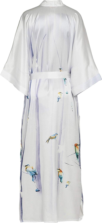 prettystern Damen Bodenlang Seide Kimono Morgenmantel Robe Silber Hell-violett Vogel L10