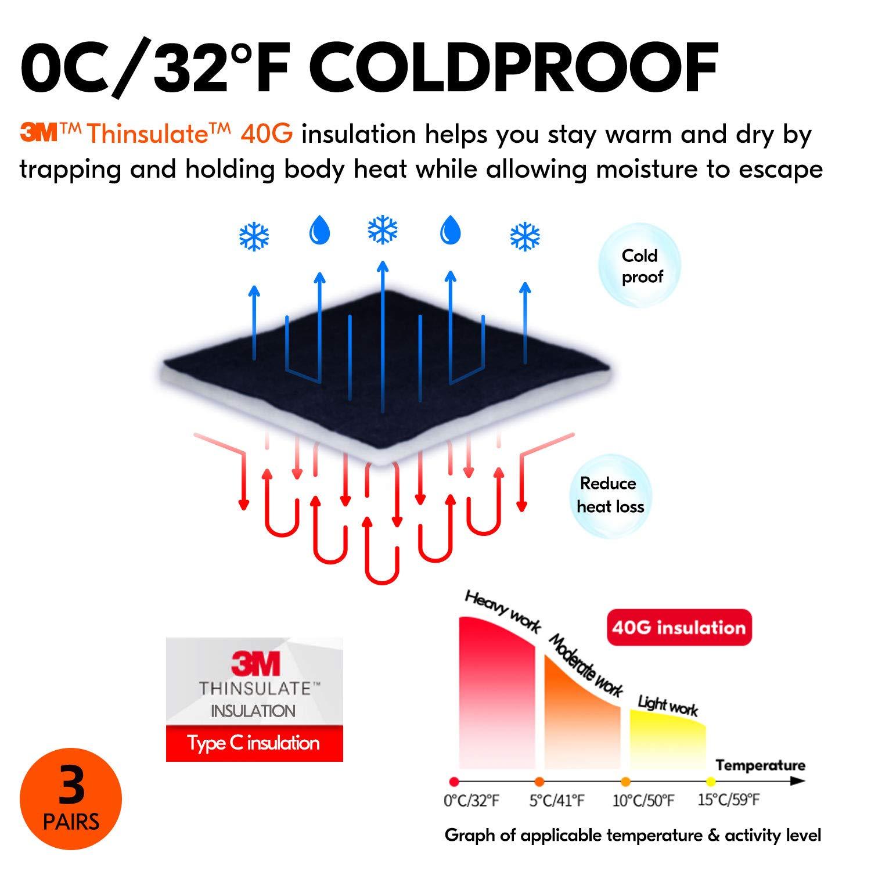Vgo 3Pares 0℃ o Superior 3M Thinsulate C40 Forrado Guantes de Trabajo de Cuero Sint/ético de Invierno Impermeable Tama/ño 10//XL, 3Colors, SL1015FW