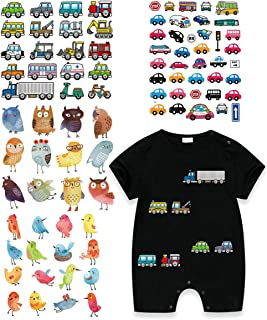 Kids Iron On Patches-4 Set Heat Transfer Stickers with Car Bird Cartoon Design Appliques Washable Waterproof for Baby Dress,Clothes,Caps