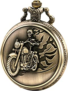 Halloween Ghost Pocket Watch with Chain Vintage Retro Grotesque Night Skull Pattern