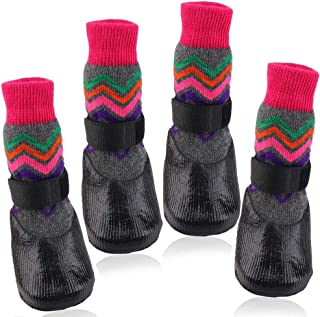 Riccioofy Dog Socks,Dog Paw Protectors with Straps Traction Control Anti-Slip Waterproof Suitable for Small Medium Large Dogs and Cats 4 Pack