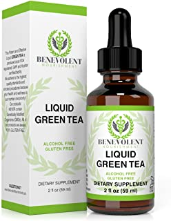 Green Tea Fat Burner - with EGCG Green Tea Extract Liquid, Max Potency for Weight Loss Support & Energy, 10 Cups of Green Tea Natural Antioxidants Polyphenols & Caffeine Non-GMO Alcohol & Gluten Free