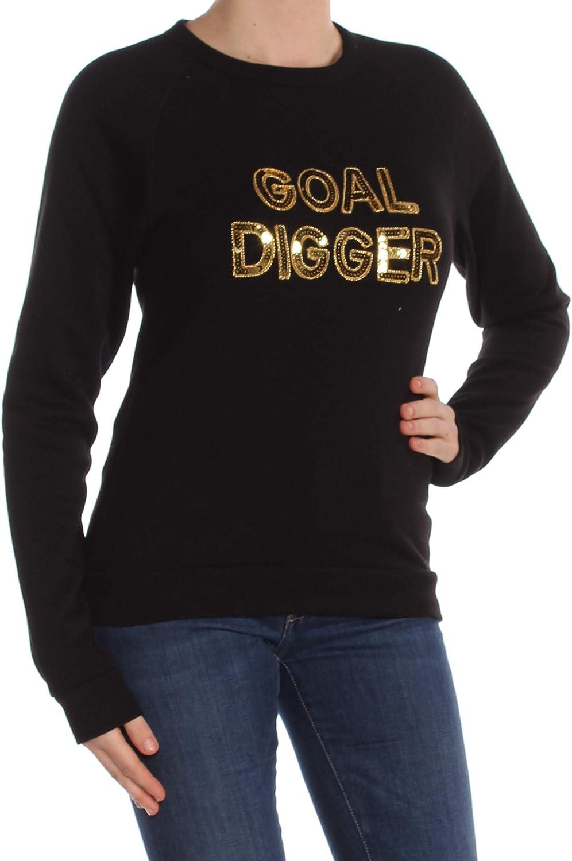 Bow & Drape Womens Goal Digger Crew Sequins Sweatshirt Black M