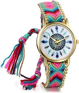 JewelryWe Boho Reloj De Pulsera Étnica De Mujeres, Cuerda De Tela Tejida, Reloj Trenzado De Hilos Ajustable, Plumas Indíge...