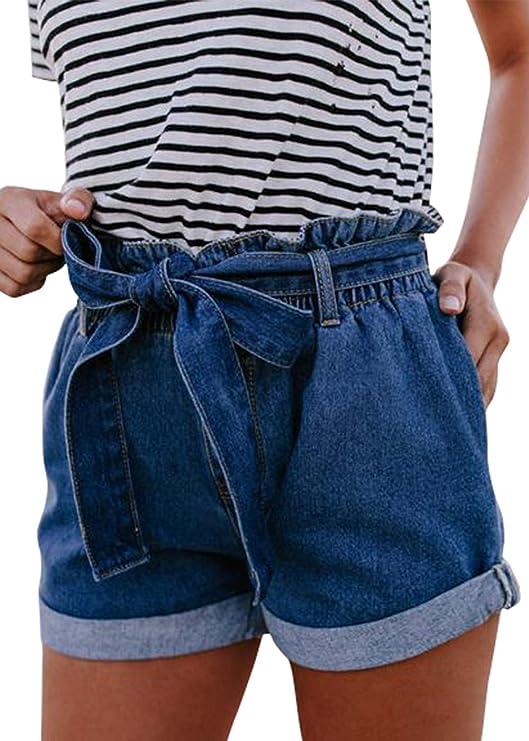 Pofash Women's Denim Paper Bag Waist Jersey Walking Shorts Jeans with Waist Tie Pockets