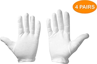 Leah Mitchell - (4 pairs) Moisturizing Therapeutic Gloves for Dry Hands Made with Premium 100% White Cotton includes FREE Lotion Packet