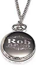 Personalized Pocket Watch - Engraved Wedding Gifts - Chain, Box and Engraving Included, Comes in 4 Colors - Custom Engraved