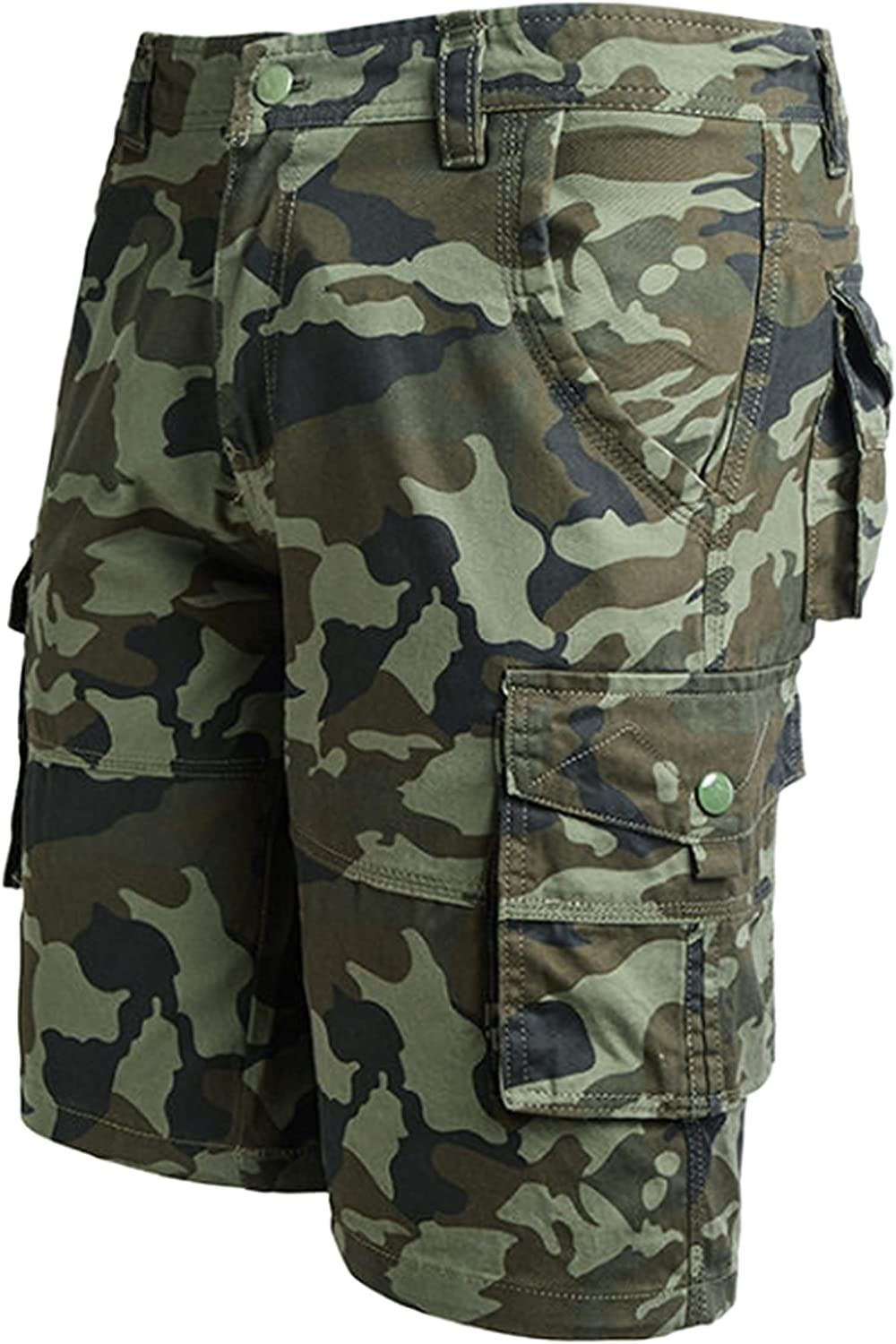 Uaneo Men's Summer Drawstring Knee Length Camo Cargo Cropped Shorts Pants Trousers(Green-40)