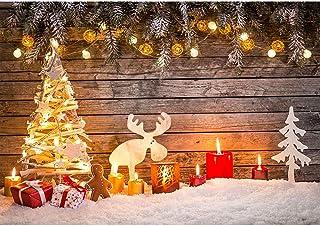 BDDFOTO Fondos de fotografía de Navidad, 1,5 x 2 m Tablero de Madera Vintage Fondos de Navidad Muñeco de Nieve Nevando Fon...