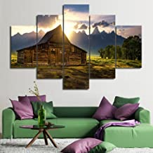 Framed Artwork Wall Art for Bedroom Canvas USA Landmark Painting Grand Teton National Park Pictures Modern Wall Art 5 Panel Giclee Artwork Home Decor Posters and Prints Ready to Hang(60''Wx40''H)